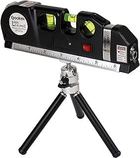 Qooltek Laser Level Line Laser Measure +8ft Tape Ruler Adjusted Standard and Metric Rulers with Metal Tripod Stand(Black)