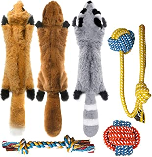 Peteast-3 Squeaky Toys and 3 Rope Dog Toys, No Stuffing Squeaky Plush Fox Raccoon Squirrel, Puppy Chew Teething Rope Toys ...