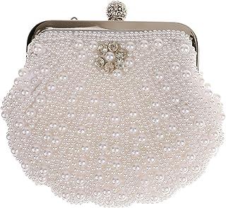 Lovoski Evening Bag Vintage Beaded Pearl Crystal Bridal Wedding Clutch Handbags White