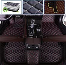 SureKit Custom Car Floor Mats for Dodge RAM 1500 2500 2003-2010, 2011-2018 Luxury Leather Waterproof Anti-Skid Full Coverage Liner Front & Rear Mat/Set (Black red)