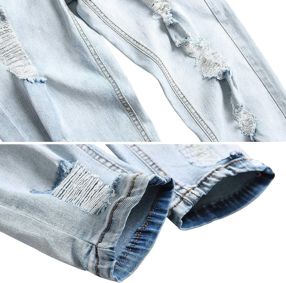 LONGBIDA Mens Ripped Skinny Distressed Slim Fit Jeans Destroyed Fashion Pants