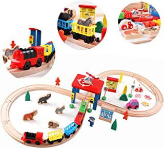 QZMTOY Wood Train Track Toys with 2-Side Thomas Brio Chuggington 55 Pieces Magnetic Train Tracks Cars Airplane Animal Zoo Accessories for Boys Girls Game Toddler Gift