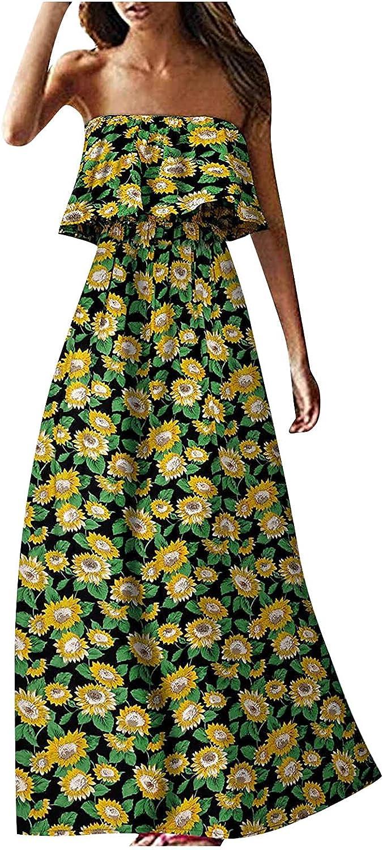 Womens Off Shoulder Sexy Tube Top Dress Ruffle Strapless Boho Maxi Long Dress Gradient Tie-dye Print Dresses Summer