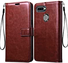 Frazil Vintage Leather Flip Cover Case for Oppo A5s | Inner TPU | Foldable Stand | Wallet Card Slots - Chestnut Brown