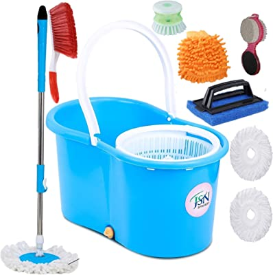 JSN Plastic Home Magic Spin Mop with Bucket, Cleaning Wipe Combo Set (Medium, Multicolour)