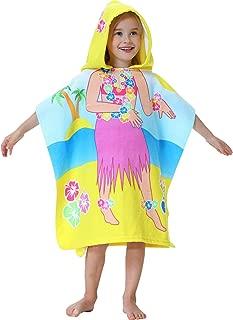 Kids Hooded one Piece Beach Pool Bath Towel as Huwaii Princess for Girls