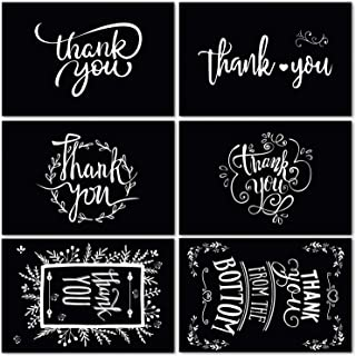 48 Pack Black and White Chalkboard Thank You Cards with Envelopes and Stickers, 6 Assorted Chalk Art Designs Thank You Bulk Notes for Halloween, Funeral, Business and All Occasions 4x6 Inches