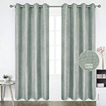 HOMEIDEAS Linen Curtains- Falling Star Faux Linen Textured Window Curtains for Bedroom and Living Room, Thermal Insulated Grommet Top Drapes (52 x 84 Inches, Light Gray, 2 Panels)