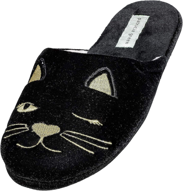 Patricia Green Women's Winking Kitty Slide Velour Slipper