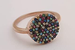 Turkish Jewelry Round Shape Sapphire Turquoise Emerald Pink Ruby Topaz Black Citrine Zircon 925 Sterling Silver Rose Gold Ring Size All