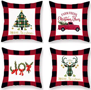 Hopyeer Pack of 4 Christmas Home Decoration Throw Pillow Covers Red Black Buffalo Plaid Grid Decor Super Soft Pillowcase Xmas Tree Red Truck Joy Words Moose Head Cushion Cover 18