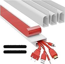 J Channel Cable Raceways - White Raceway Cable Management System - 4x 16'' Cable Channels for Cord Management Under Desk. ...