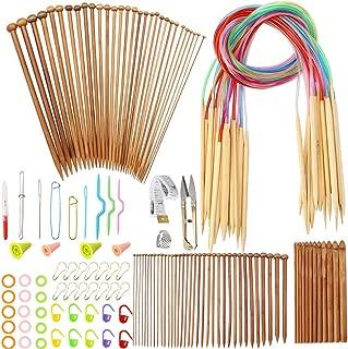 Outkitkit 102pcs Knitting Needles Set with Weaving Tools Kit Bamboo Circular Knitting Needles Crochet Hooks for DIY Craft, Starters
