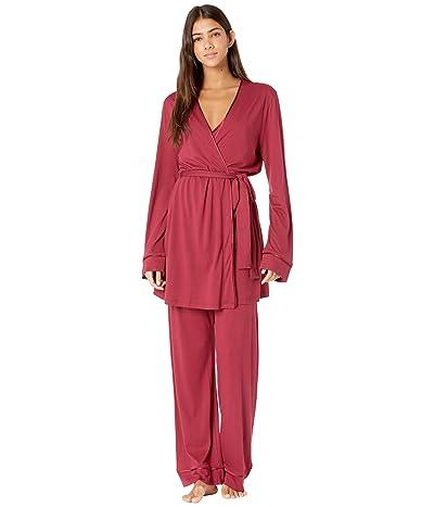 Cosabella Bella Curvy Cami Pants and Robe Set (Deep Ruby/Deep Ruby) Women