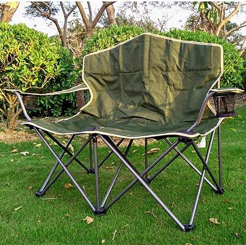 LJ-Chair Chaise Pliante - Chaise de Camping Double Portable avec Porte-gobelets Chaise Longue de Plage