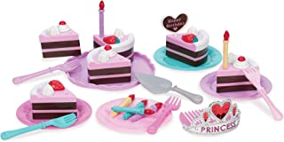 Play Circle – Princess Birthday Party Set – Pretend Play Princess Tiara, Candles, Plates, Forks, and Chocolate Cake Topped...