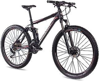 CHRISSON Fully Hitter FSF - Bicicleta de montaña de 29 pulgadas con suspensión completa y cambio de cadena Shimano Deore de 30 marchas, para hombre y mujer, con horquilla Rock Shox, color negro y rojo