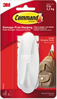 Command Hooks, Plastic, 17083, White, H0.171 x W0.098 x D0.04 cm