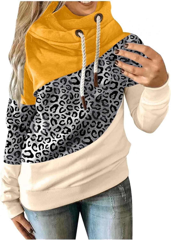 Women Casual Hoodies Cowl Neck Long Sleeve Color Block Hooded Pullover Plus Size Drawstring Sweatshirt Tops