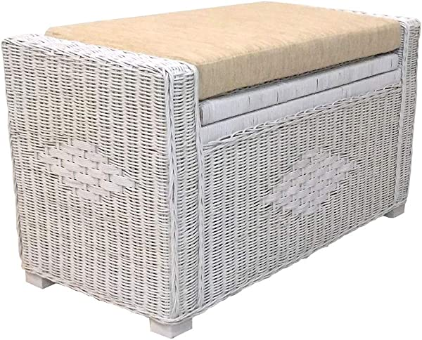 Kotlette Natural Rattan Wicker Storage Chest And Trunk Ottoman Bench With Beige Cushion Handmade Patio Model Adam Size 32 Inch 5 Colors White Solid