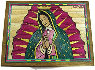 "El Relicario de Los Tesoros Our Lady of Guadalupe Popotillo Stained Straw & Wood Hand Crafted Box Jewelry Stash Trinket Box Beautiful from Popocatépetl Mexico (Large-6.25"" L X 5"" W X 2.25"" D)"