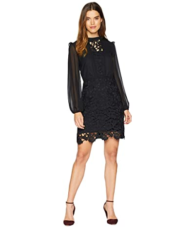 kensie Smooth Stretch Crepe Dress w/ Lace Detailing KSNK8329 (Black) Women