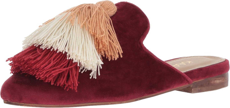 KAANAS Womens Mompox Velvet Mule Slide with Tassels Flat shoes Mule