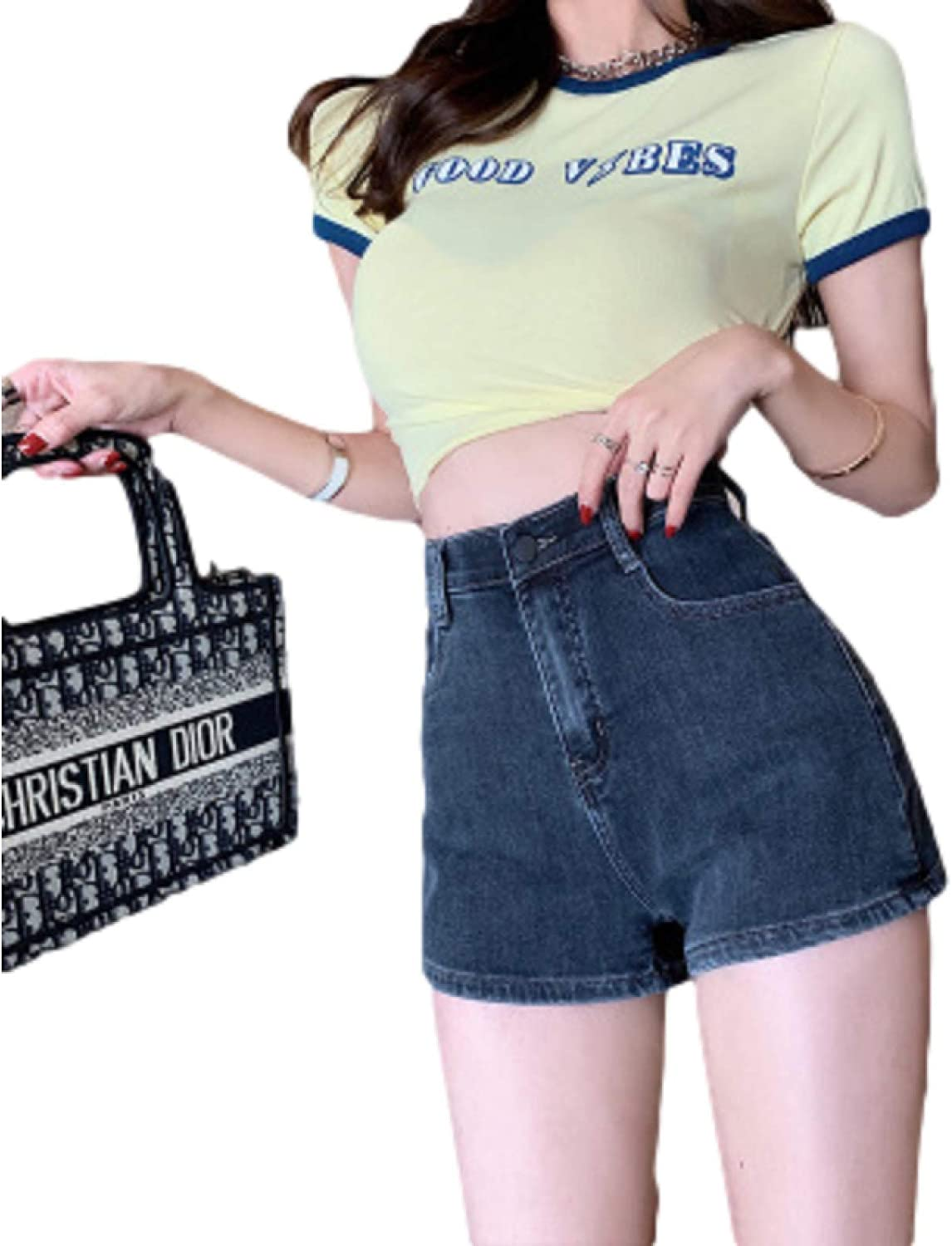 Ladies High Waist Casual Wild Mail order cheap Straight Stretchy Summer Regular discount Cl Shorts