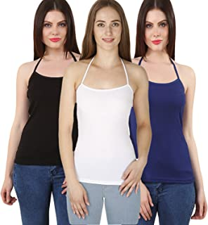 GRAPPLE DEALS Combo Of 3 Cotton Halter Neck Camisole Soft High Fabric Camisole For Women And Girls.