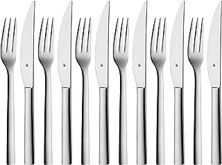 WMF Nuova Steakbesteck, 12-teilig, für 6 Personen, Steakgabel, Steakmesser, Cromargan..