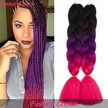 BeautyGrace 5 packs Afro Jumbo Braiding Hair Extensions Kanekalon Synthetic Twist Hair Multiple Tone Colored African Jumbo Braids Hair (24 inch, Black-Purple-Peach)
