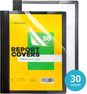 Report Covers (Box of 30) with 3-Prong Fasteners Letter Size - Clear Front Folder Cover for Presentation Folder, Binder, Project and School Documents - Durable and Long Lasting - Black // Paper Plan