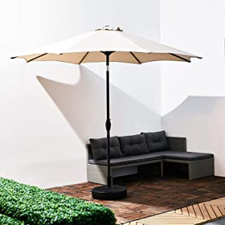Grand patio 9 ft Outdoor Market Umbrella with Push Button Tilt and Crank Lift, Aluminum Pole with 8 Ribs and Vented Canopy No Base (Beige)