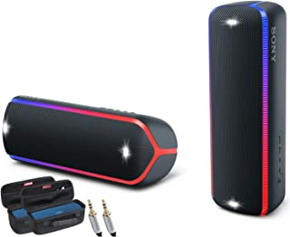 Sony SRS-XB22 Extra Bass Portable Bluetooth Speakers, (2 Speakers, Black) WPS and Stereo Pairing Bundle with Two Hardshell Carrying Cases and 10ft AUX Cable