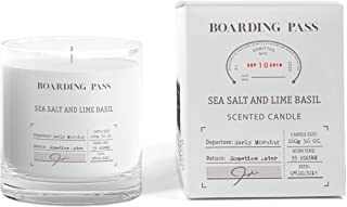Boarding Pass Soy Candle, Burn in the Morning, Basil Sea Salt Lime Scented Candle, Clear, 5.6oz