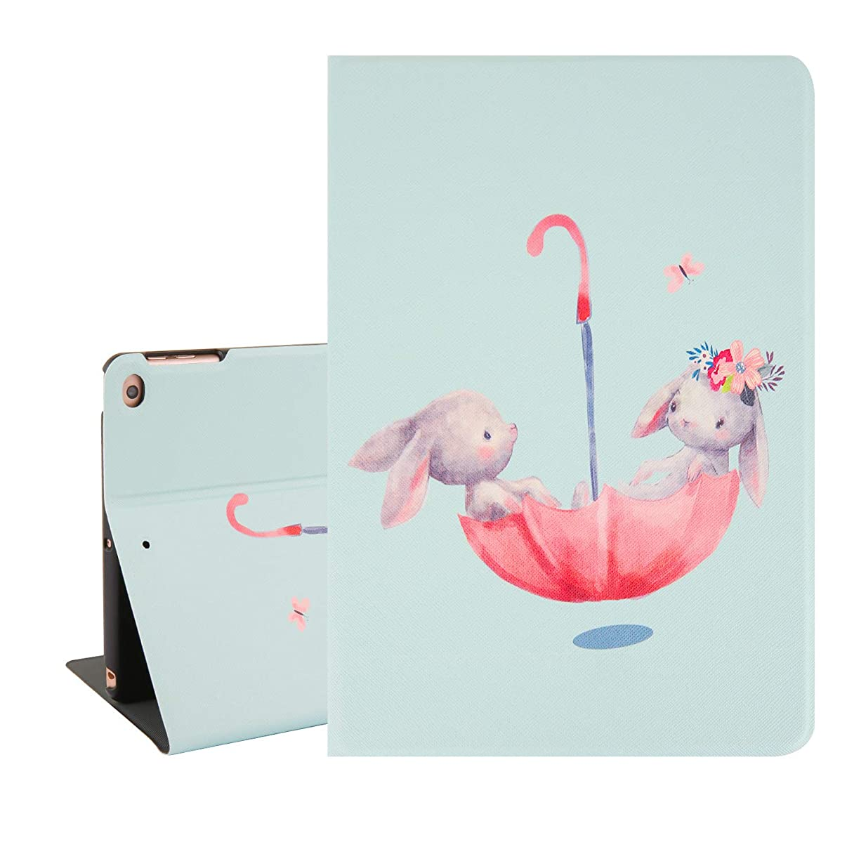 Cute Rabbit iPad Air 9.7 Case, Rabbit Girl and Boy in Umbrella Tablet Case for iPad Air with Auto Sleep Wake Function, Lightweight Folio Stand Protective Case Cover for iPad Air 6th/5th Gen 2018/2017