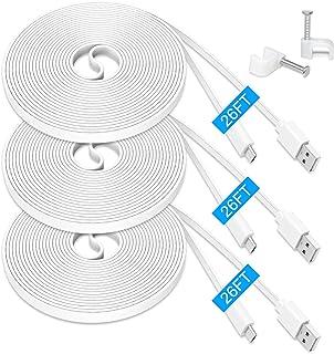 [3 Pack] MENEEA 26FT Flat Extension Power Cable for Wyze Cam Pan, WyzeCam, Kasa Cam, YI Dome Home Camera, Furbo Dog, NestC...