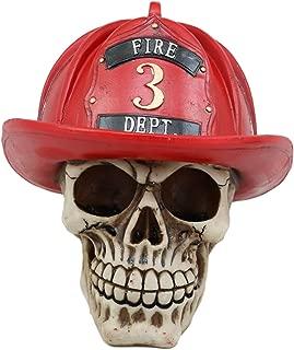 Ebros Gift Realistic Fireman Skull with Number 3 Fire Department Hat Helmet Figurine 7