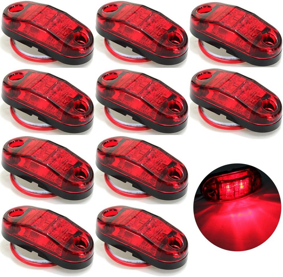 C/ôt/é Feux de gabarit LED Remorque Camion c/ôt/é marqueur voyant lumineux rouge 10/forets Queue Coffre arri/ère lumi/ère de frein Turn Signal lampe