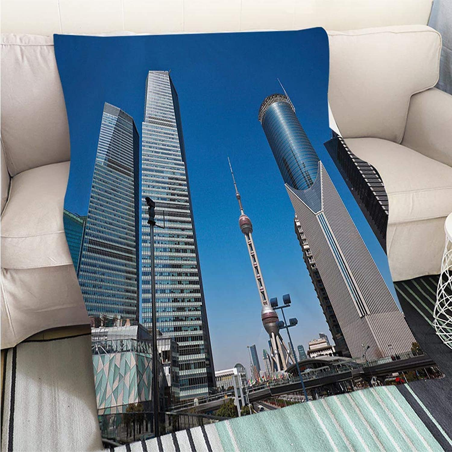 Art Design Photos Cool Quilt Shanghai Modern City Landmark Office Backgrounds Hypoallergenic Blanket for Bed Couch Chair