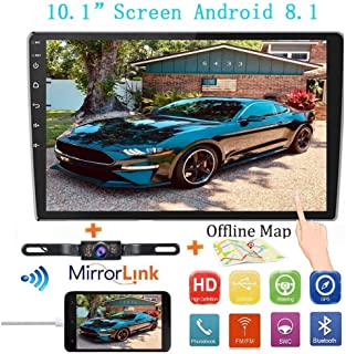 "Double Din Car Stereo Radio Receiver, 10.1"" 2.5D Curved HD Touch Screen Head Unit Multimedia Player, Support Rear View Camera&Android iOS Mirror Link Dual USB Input+License Plate Camera,"