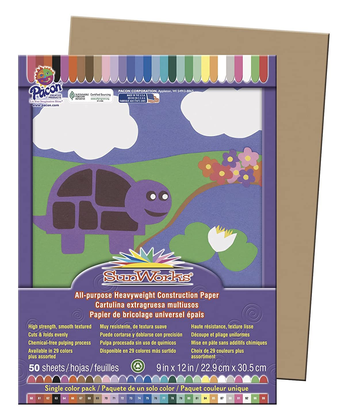 SunWorks? Construction Paper 50 SHEETS 9X12 IN LIGHT BROWN ALL PURPOSE