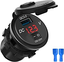 Quick Charge, QC 3.0 Motorfiets Boot Auto USB Charger Socket LED Voltmeter met Aan/Uit Schakelaar, voor 12V/24V Auto, Bote...