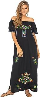 فستان مطرز مكسيكي طويل من بالي للنساء، فساتين فلاحي صيفي طويل ماكسي للنساء بدون كتف