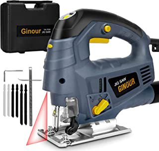 Jigsaw, ginour Jigsaw Tool 800W 3000SPM, 7 Variable Speed, 6 Blades, Laser Guide, 4 Position Orbital Action, Cutting Angle...