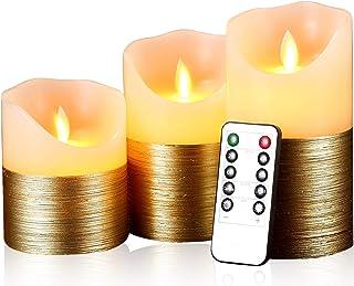 AnnTec LED ロウソク 電池式キャンドル ゴールド 本物の炎のようにゆらめく3点セット 暖色光 火を使わない ゆらゆら揺れる 安全 省エネ 専用リモコン付き 明るさ調整 LEDライトキャンドル