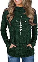 AELSON Women's Faith Hoodies Casual Long Sleeve High Neck Sweatshirts Loose Pullover Tops with Pocket