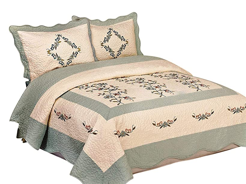 3pcs High Quality Fully Quilted Embroidery Quilts Bedspread Bed Coverlets Cover Set , Queen King (Beige/AquaBlue)