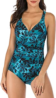 One-Piece Swimsuits for Women Moderate Monokini Bathing Suits Ruched Tummy Control Adjustable Straps
