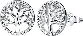 Lydreewam árbol de la Vida Pendientes para Mujer Plata de ley 925 con Caja de Regalo, Diámetro 10mm